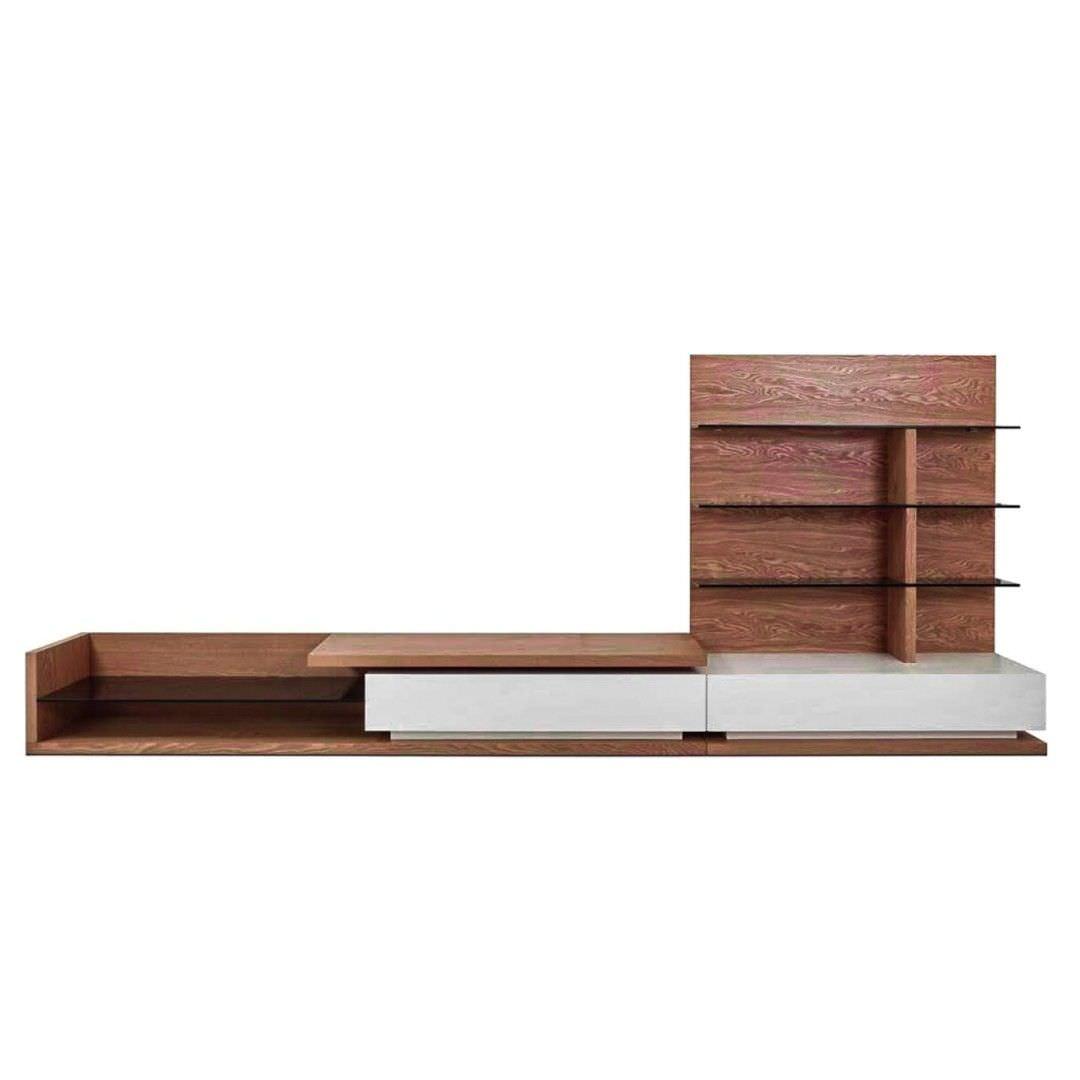 Vormark Wooden TV Unit with Shelf, 360cm, Walnut / White