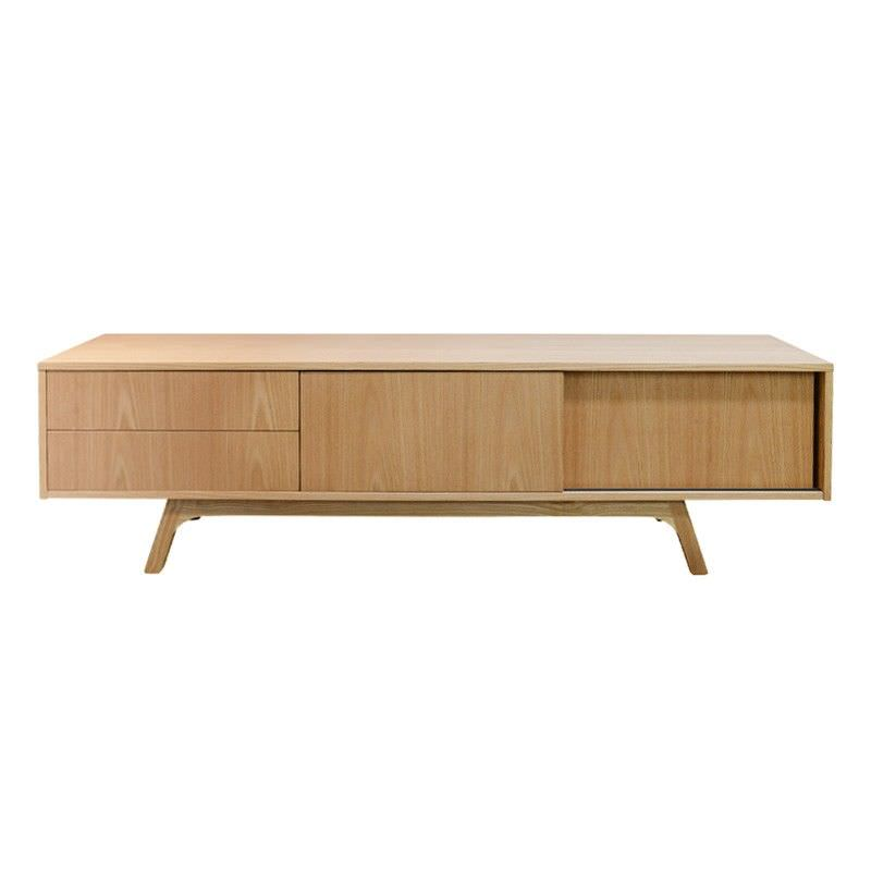Eoin Wooden Sliding Door 2 Drawer Lowline TV Unit, 180cm, Natural