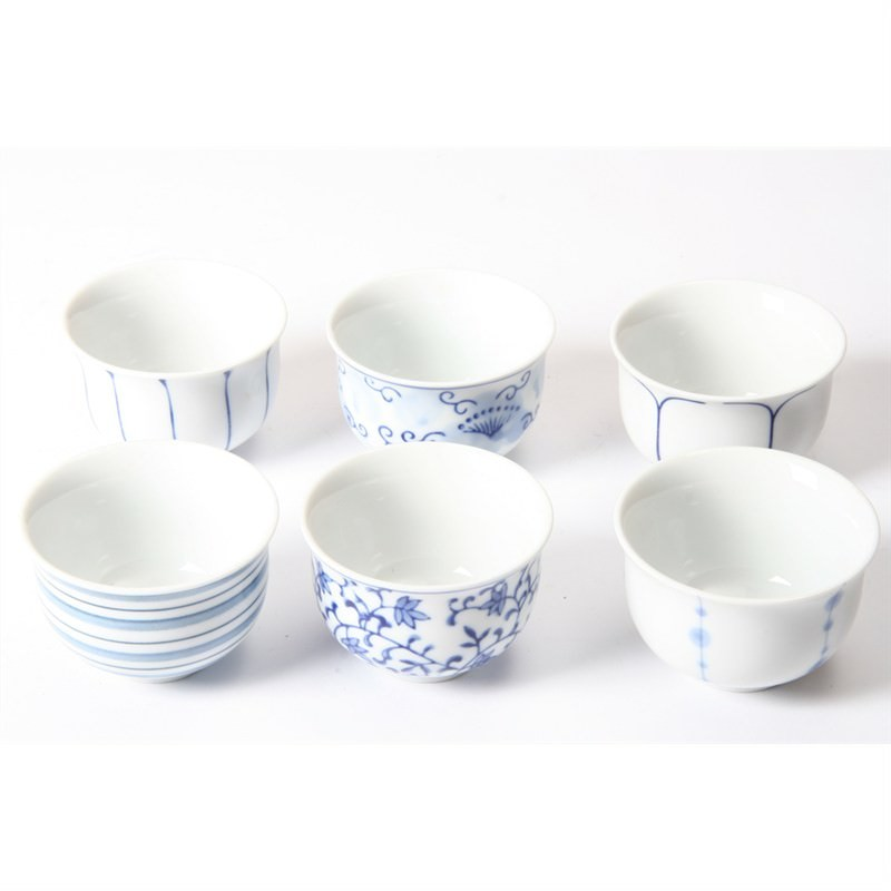 6 Piece Sauce Bowl Set - Blue and White