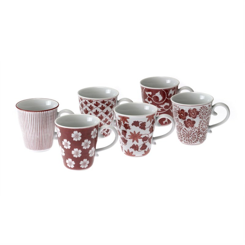 Red Set of 6 Mugs - Assorted