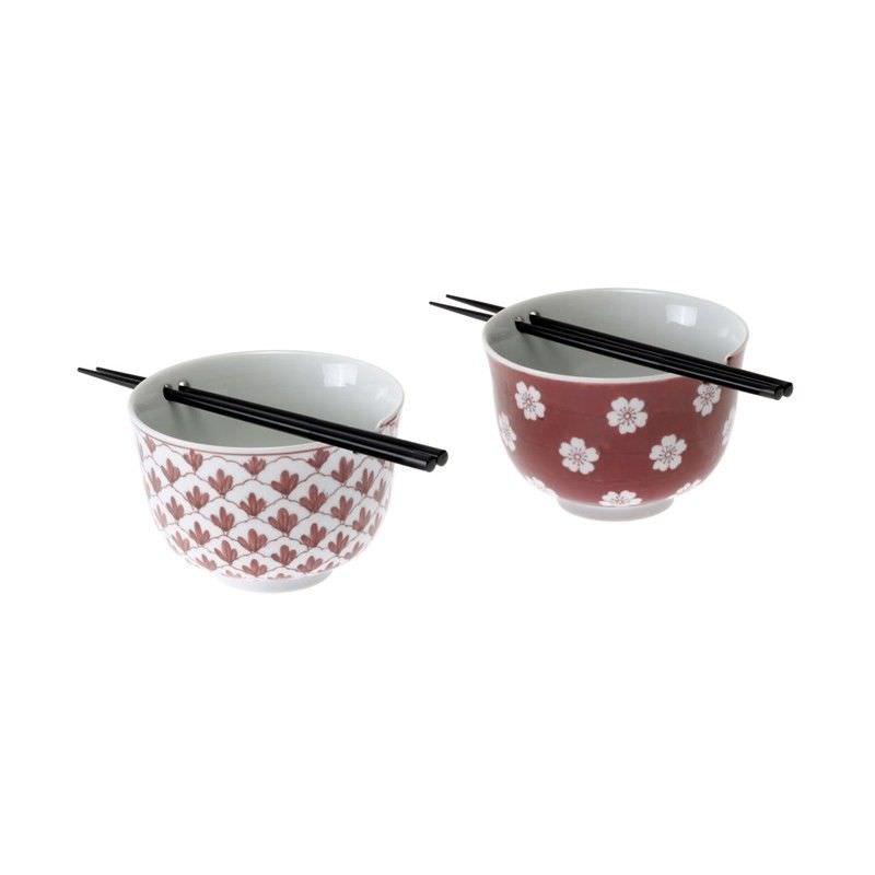 Red 2 Pc Noodle Bowl Set W-Chopsticks