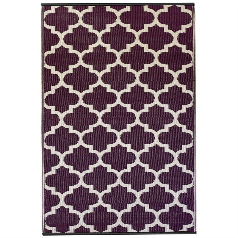 Tangier Outdoor Rug in Plum and White - 120x179cm