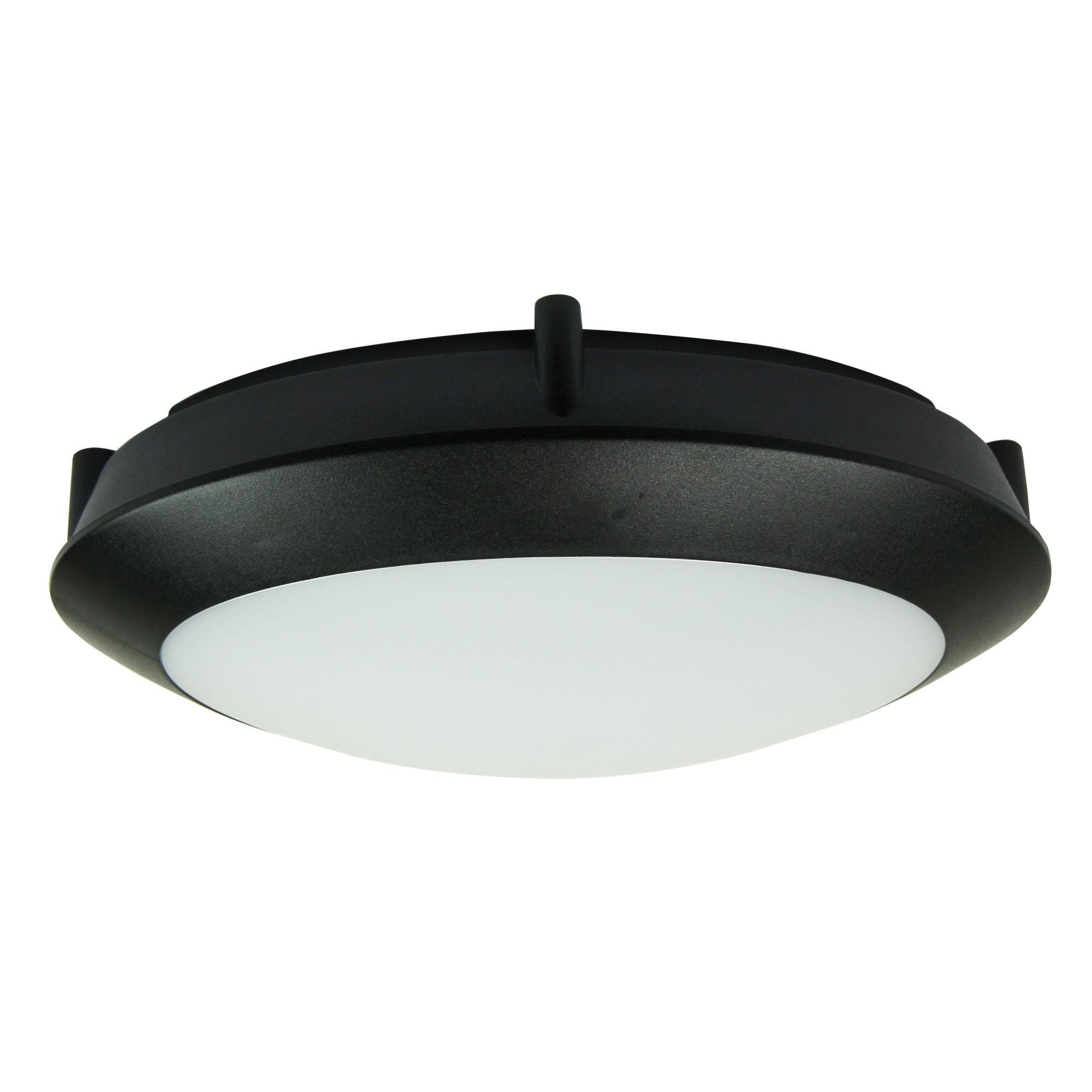 Duro IP66 Exterior LED Oyster Light, 20cm, Round, Black