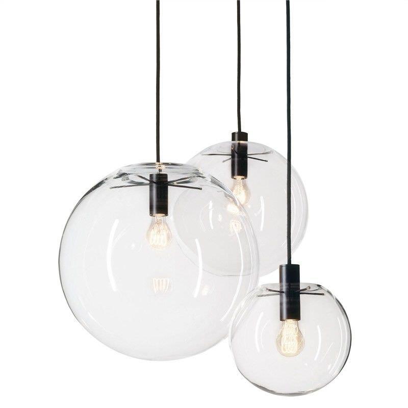 Doris Hand Blown Glass Globe Pendant Light - Medium