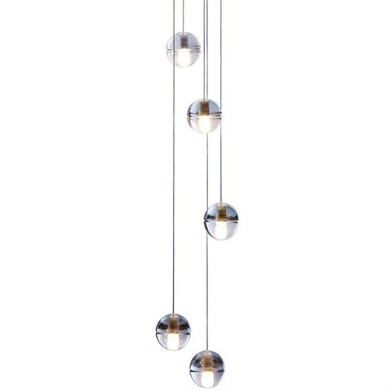 Elias 5 Light Glass Ball Cluster Pendant Light