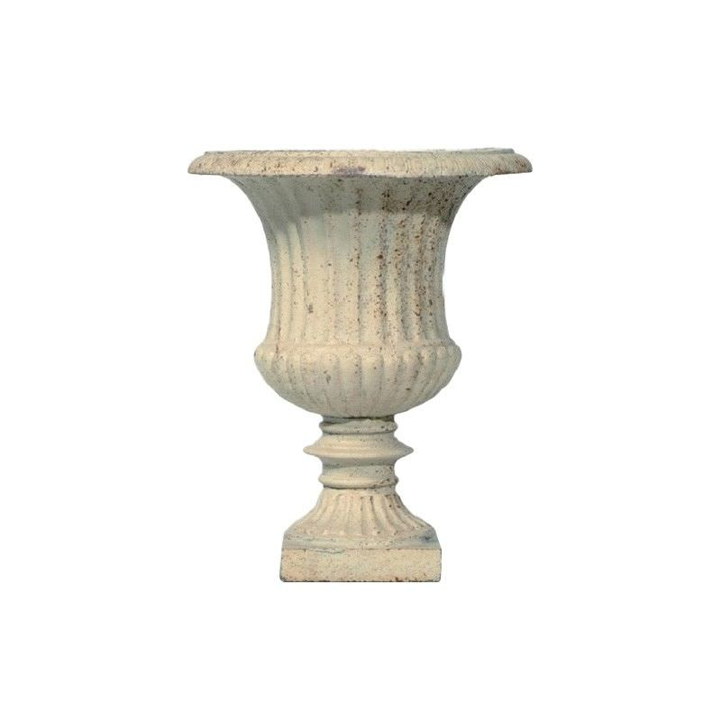 Alecta Cast Iron Garden Urn, Small, Antique White