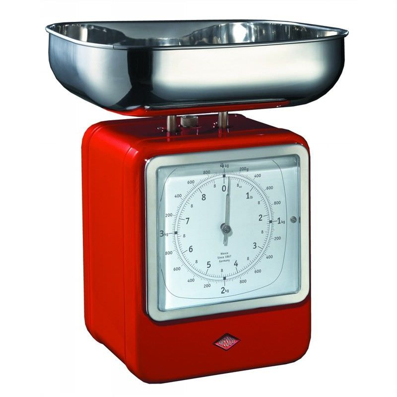 Wesco Stainless Steel Retro Scale with Clock - Red