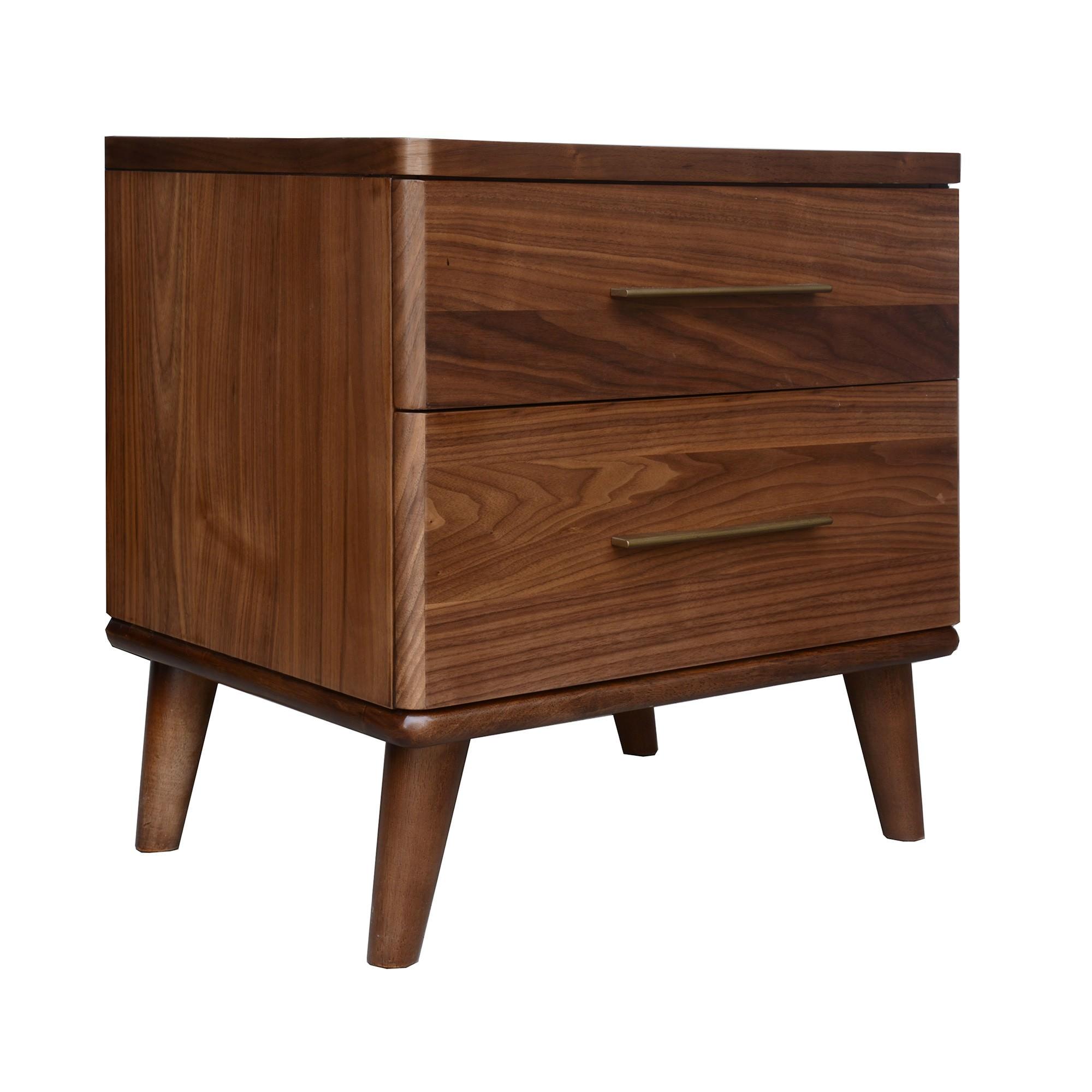 Stella Wooden Bedside Table, Walnut