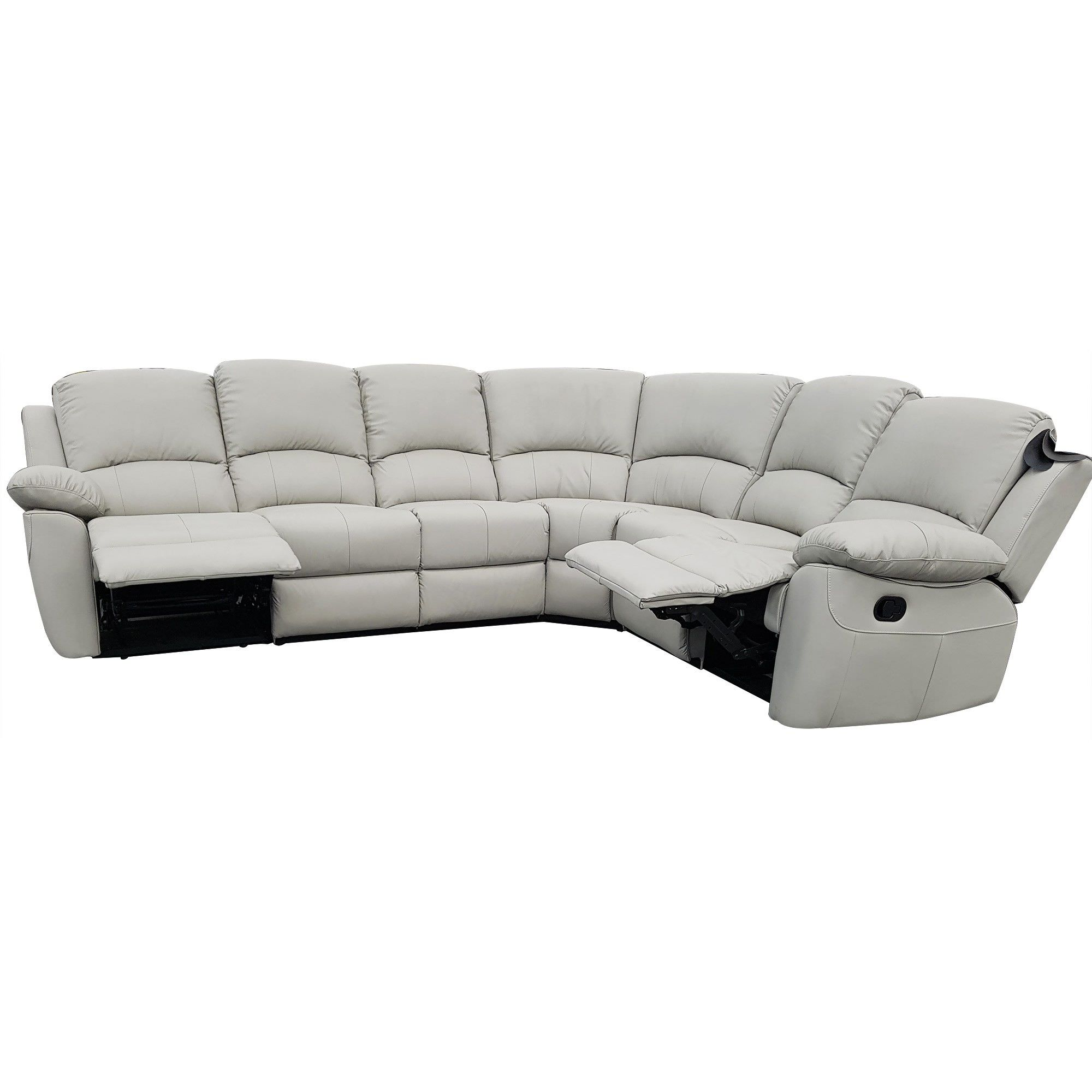 Connie S Corner: Connie Leather 5 Seater Corner Recliner Sofa, Mist