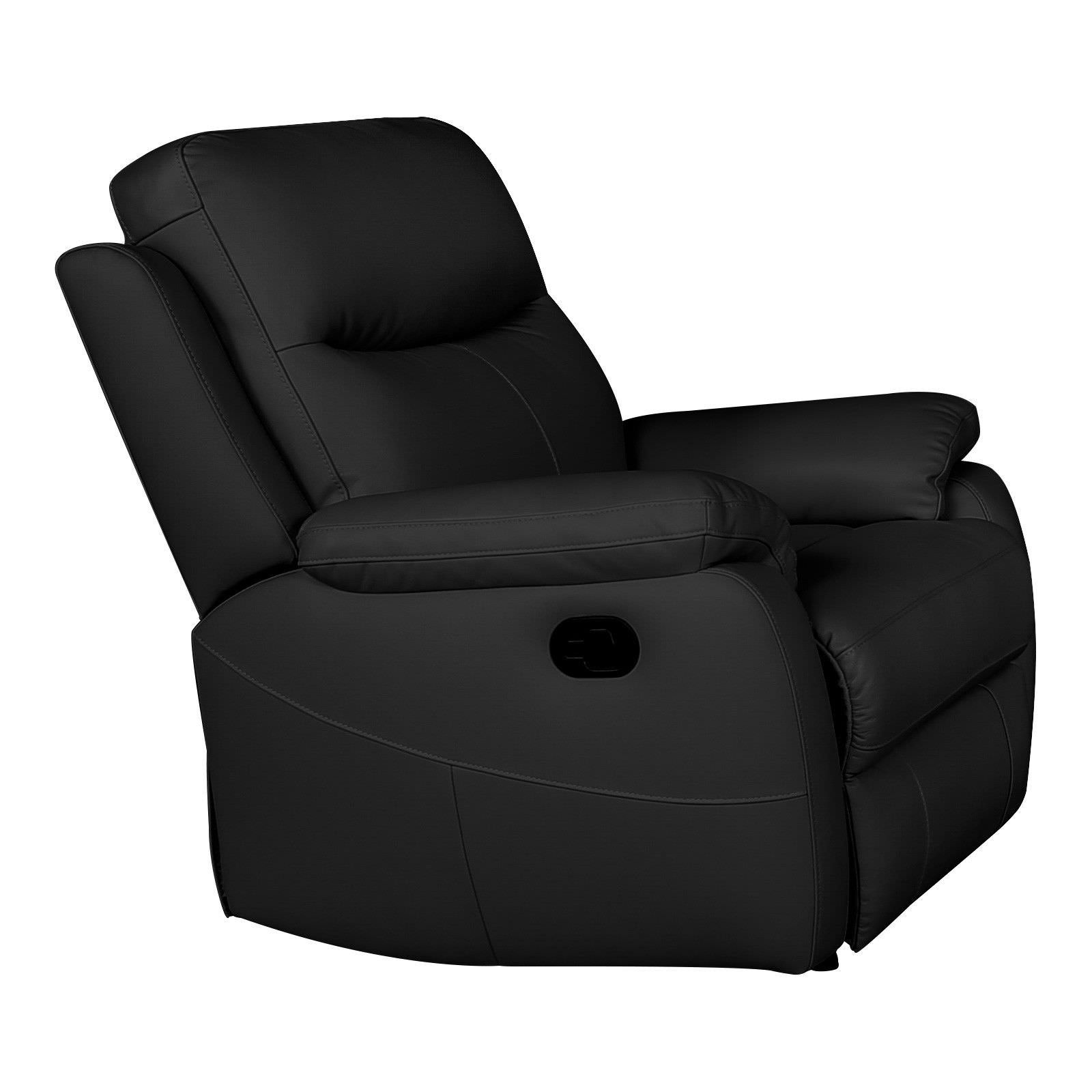 Colson Leather Recliner Lounge Armchair, Black