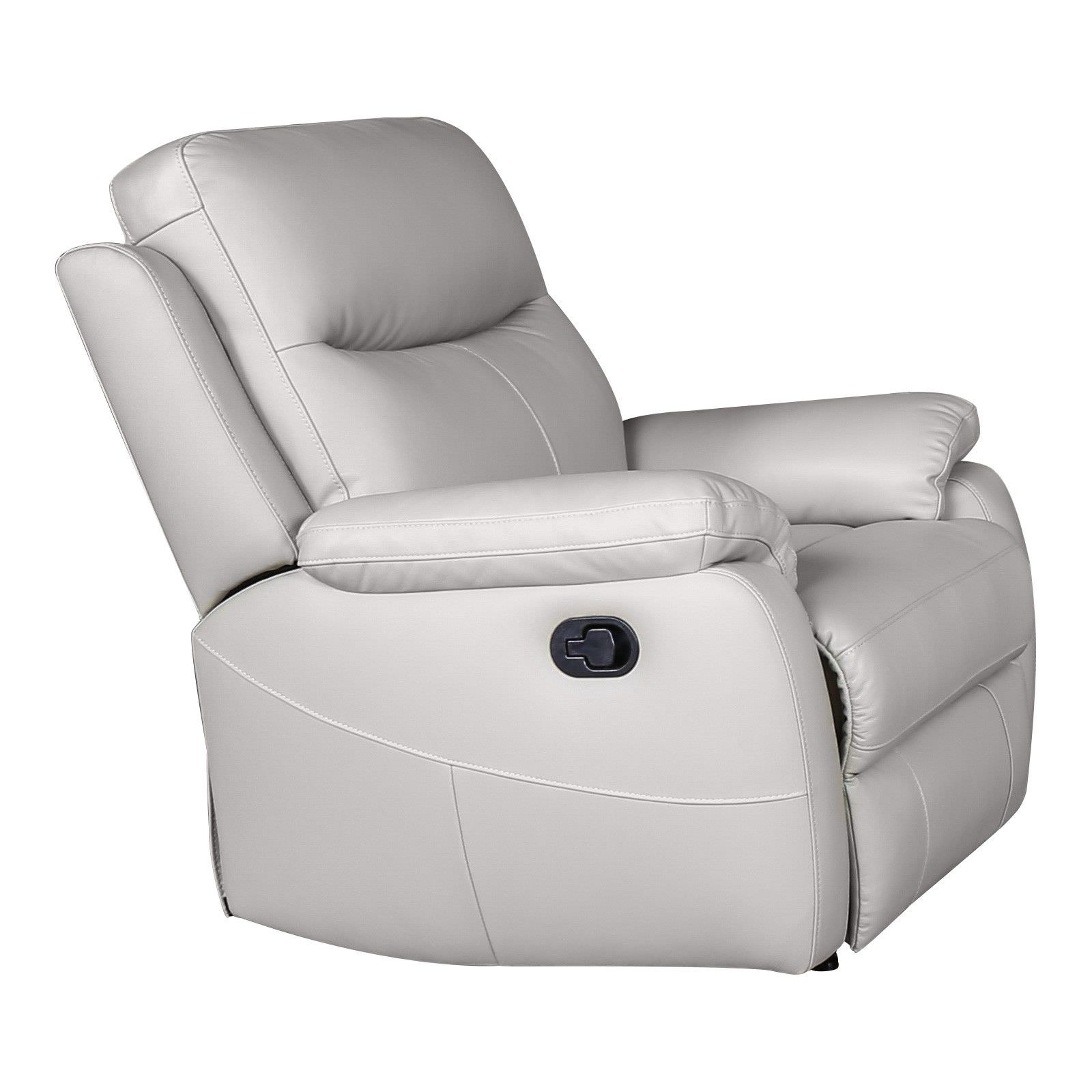 Colson Leather Recliner Lounge Armchair, Mist