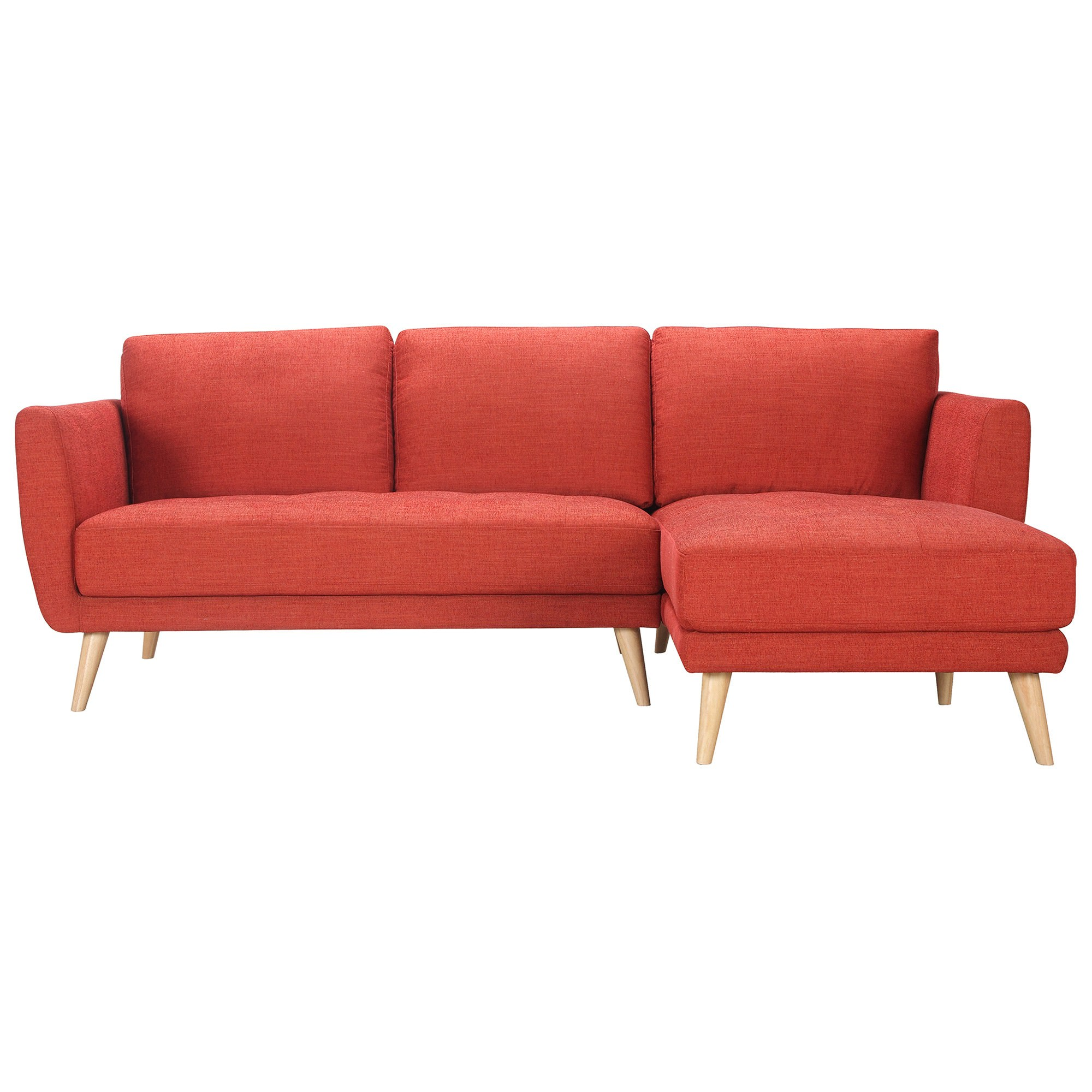Artarmon Fabric Corner Sofa, 2 Seater with Right Hand Facing Chaise, Paprika
