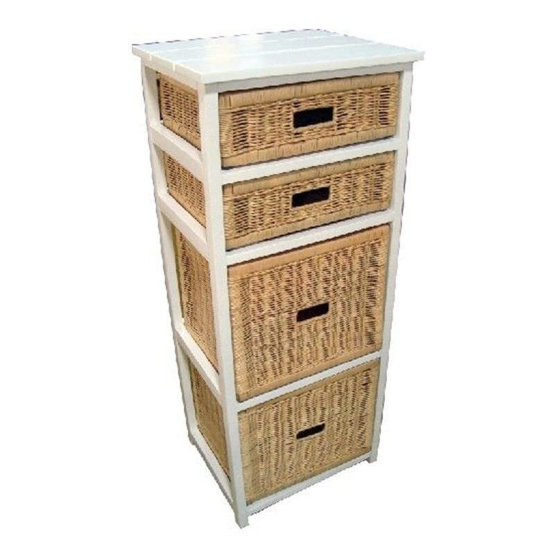 Umina 4 Cane Drawer Mango Wood Tall Cabinet
