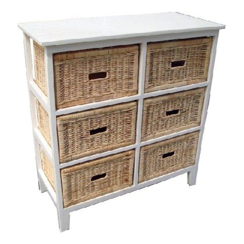 Umina 6 Cane Drawer Mango Wood Tall Cabinet