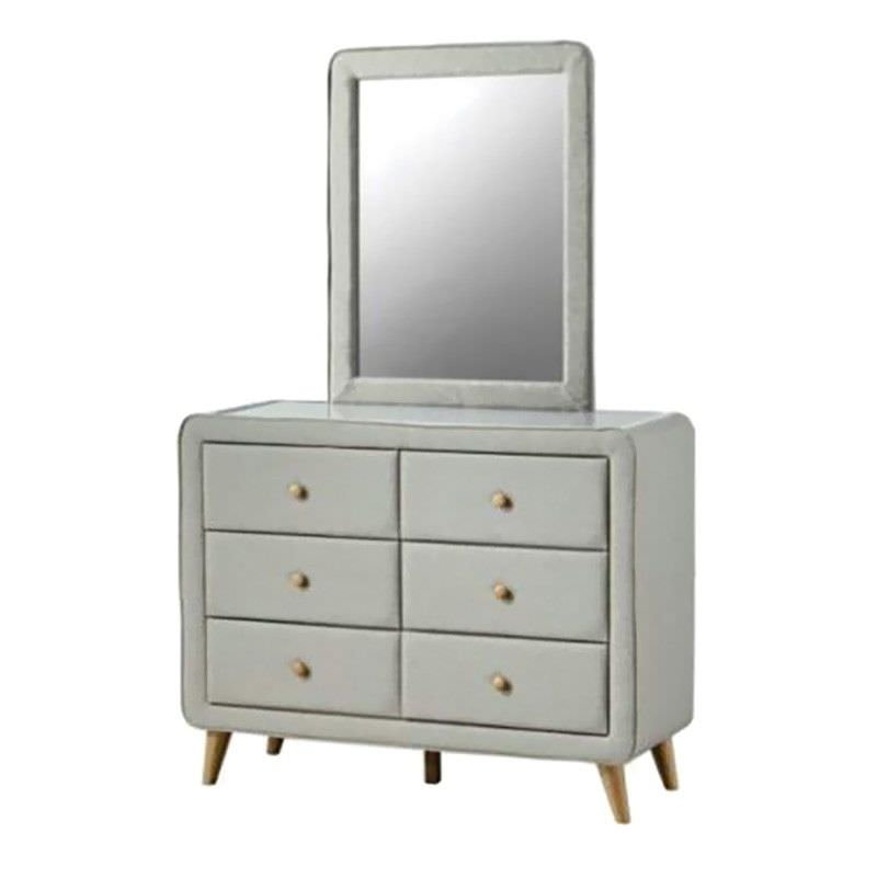 Rizal Fabric 6 Drawer Dresser with Mirror