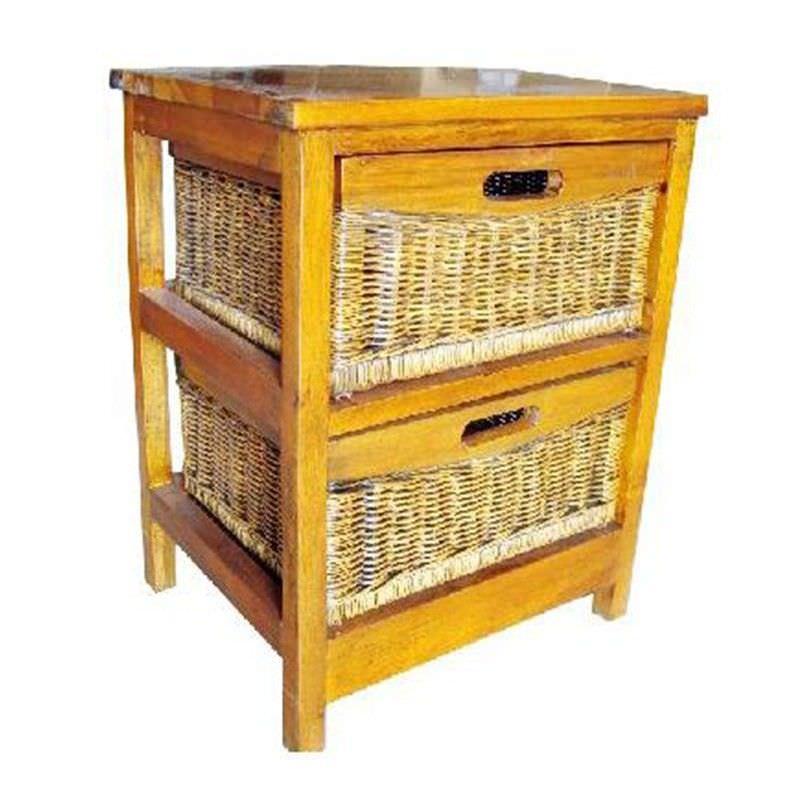 Berala 2 Cane Basket Mango Wood Timber Storage Unit