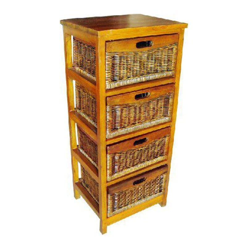 Berala 4 Cane Drawer Mango Wood Tall Cabinet