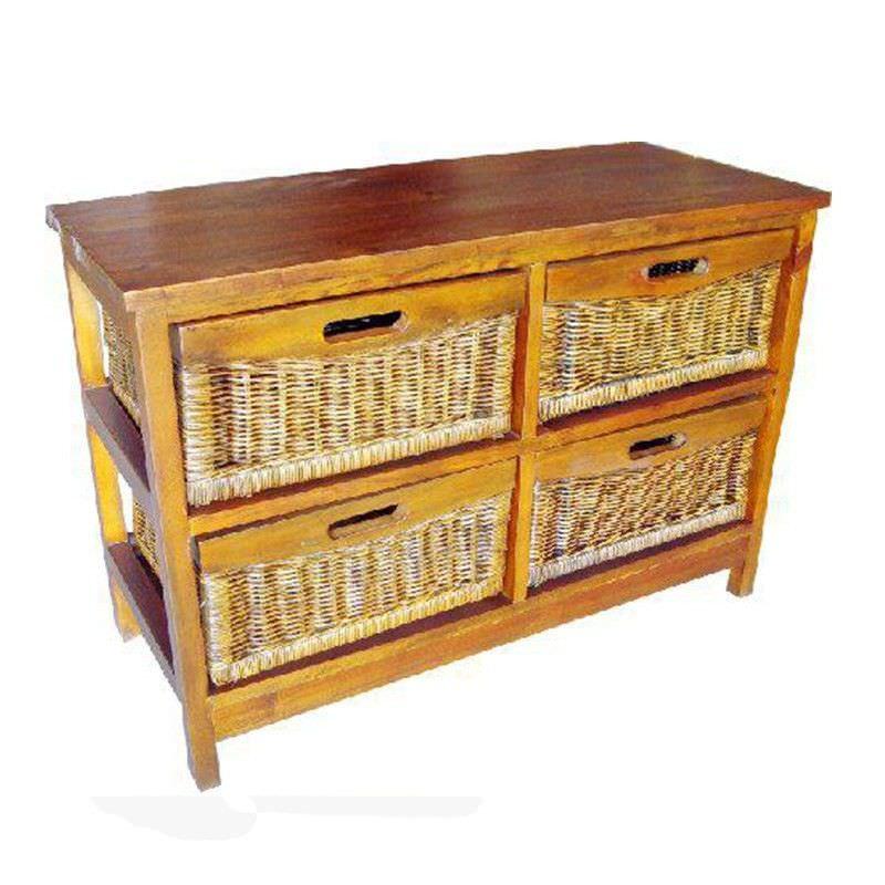 Berala 4 Cane Drawer Mango Wood Wide Cabinet