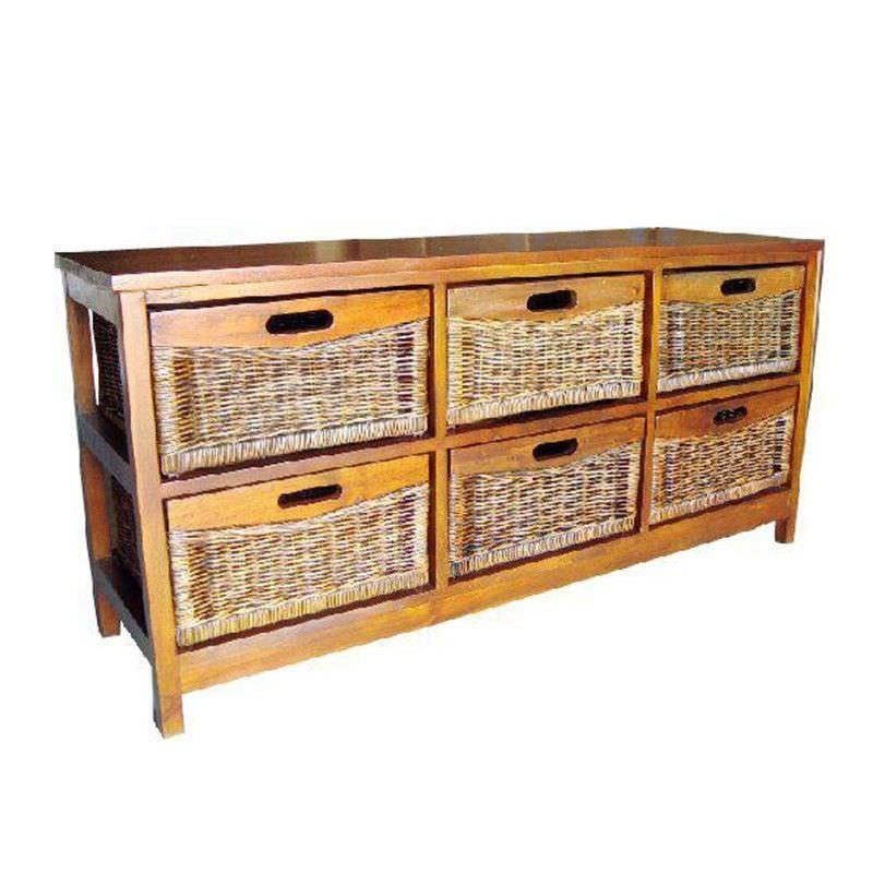 Berala 6 Cane Drawer Mango Wood Wide Cabinet