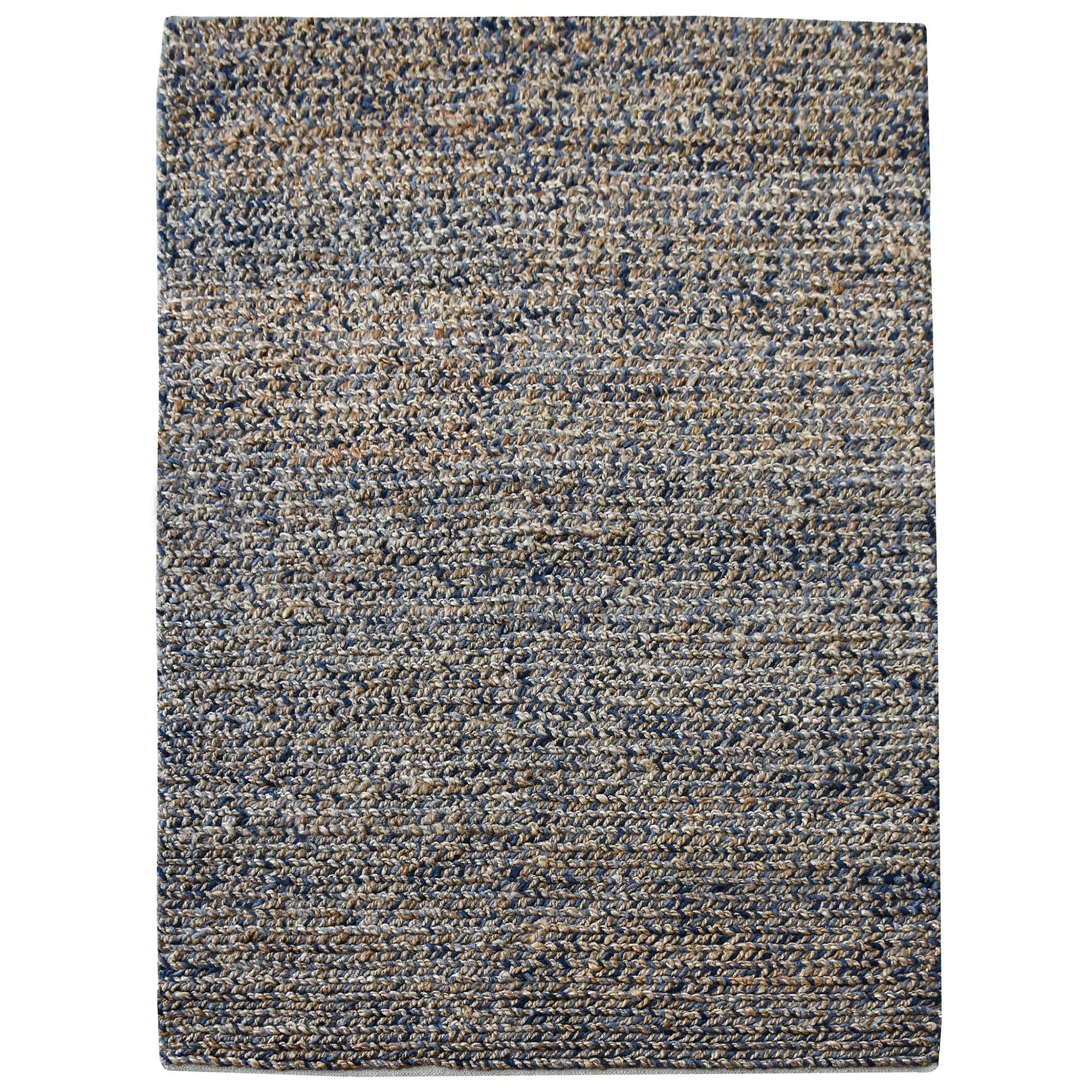 Dormark Handwoven Textured Wool & Hemp Rug, 190x290cm, Blue / Natural