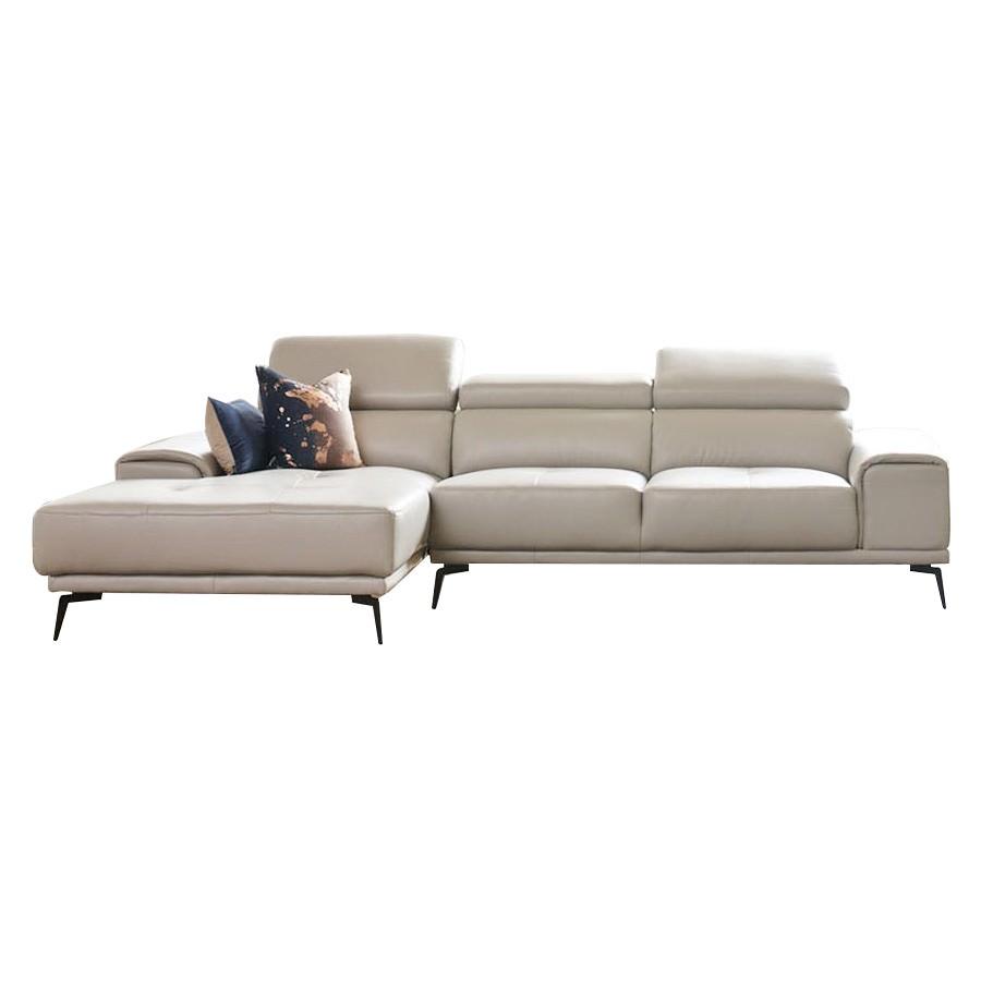 Avezzano Leather Corner Sofa, 2 Seater with LHF Chaise, Silver
