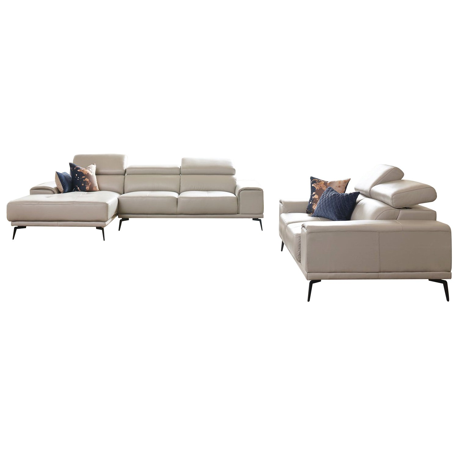 Avezzano 2 Piece Leather Corner Sofa Set, 2 Seater with LHF Chaise + 2 Seater, Silver