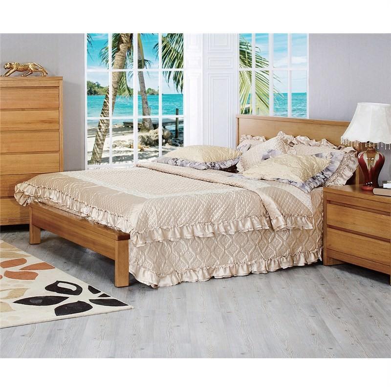 Martina Tasmanian Oak Timber Bed, King, Wheat