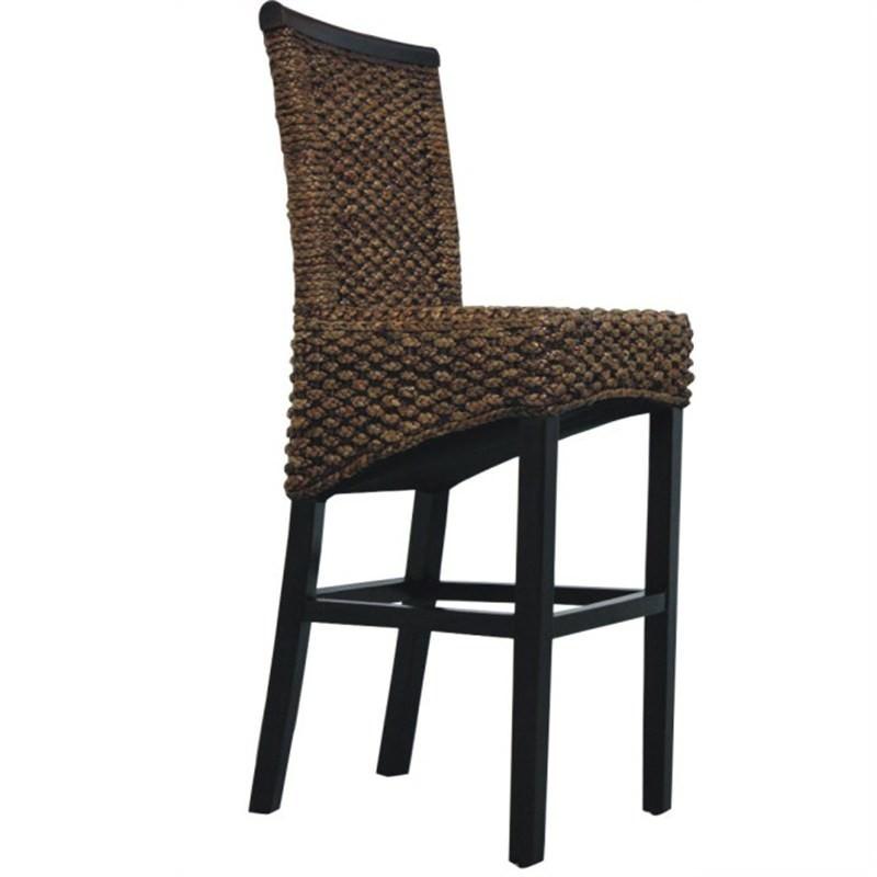Breeze Water Hyacinth Wicker Bar Chair - Natural / Dark Chocolate