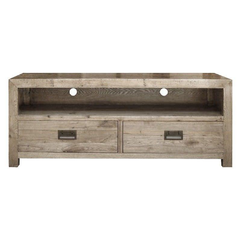 Sherwood Solid Oak Timber 2 Drawer 140cm TV Unit