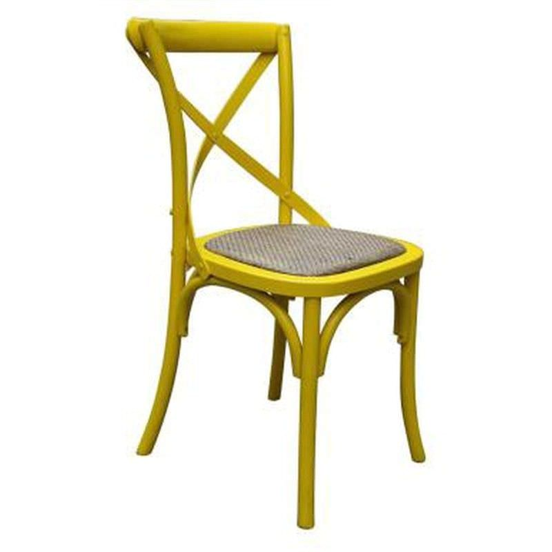 Sherwood Solid Oak Cross Back Chair - Distressed Yellow