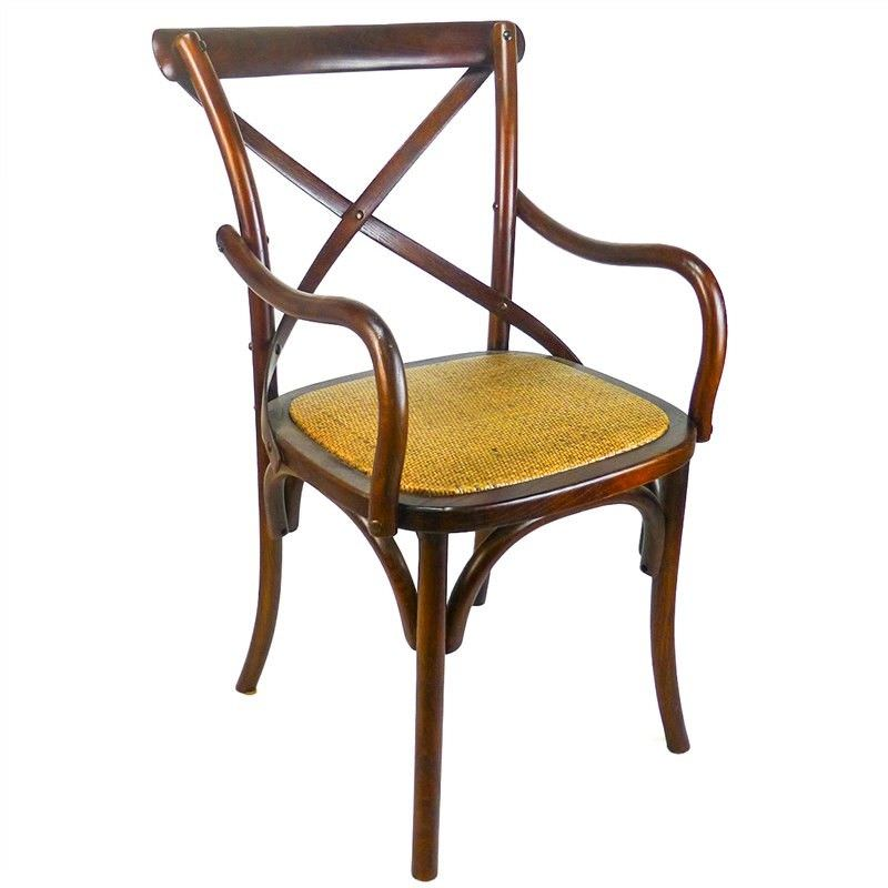 Sherwood Solid Oak Timber Cross Back Dining Armchair with Rattan Seat - Distressed Honey