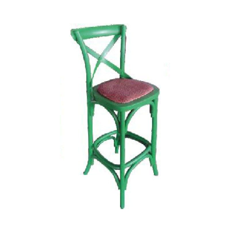 Sherwood Solid Oak Timber Cross Back Bar Chair with Rattan Seat, Distressed Green