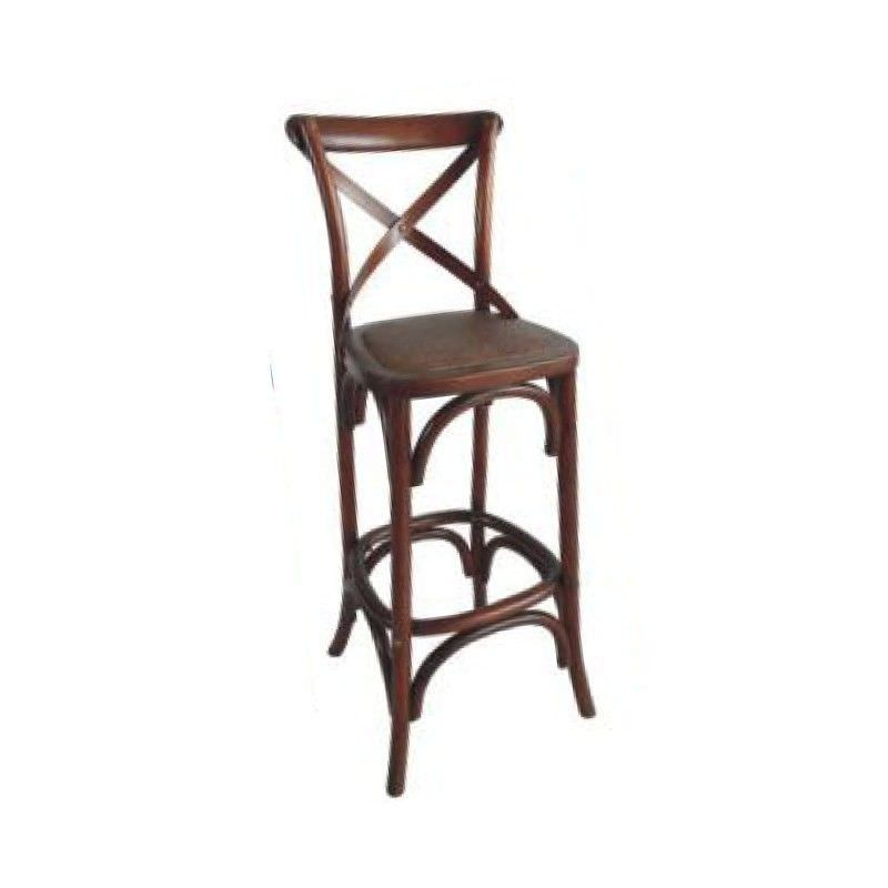 Sherwood Solid Oak Timber Cross Back Bar Chair with Rattan Seat, Distressed Honey