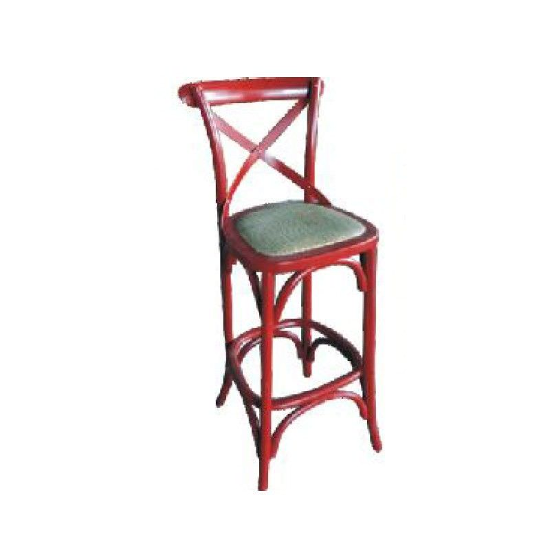 Sherwood Solid Oak Timber Cross Back Bar Chair with Rattan Seat, Distressed Red