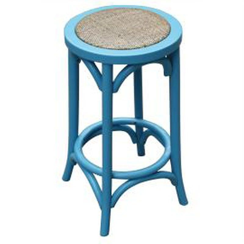 Sherwood Solid Oak Timber Counter Stool with Rattan Seat, Distressed Blue
