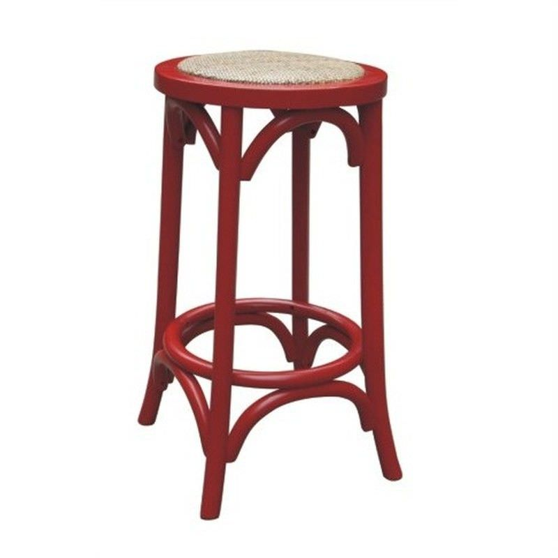 Sherwood Solid Oak Timber Counter Stool with Rattan Seat, Distressed Red