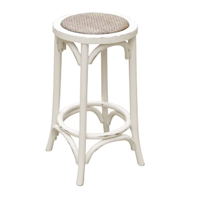 Sherwood Solid Oak Timber Kitchen Stool with Rattan Seat - Distressed  White