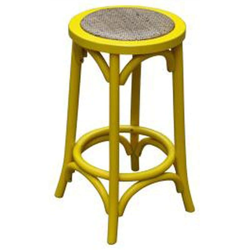 Sherwood Solid Oak Timber Counter Stool with Rattan Seat, Distressed Yellow