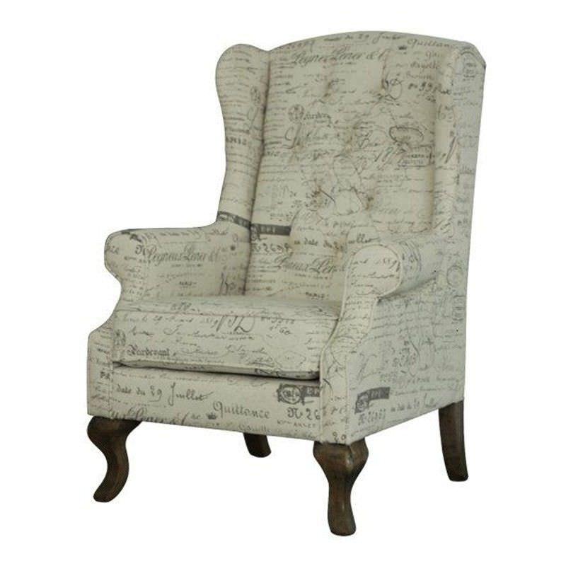 Melton Print Linen Wing Chair
