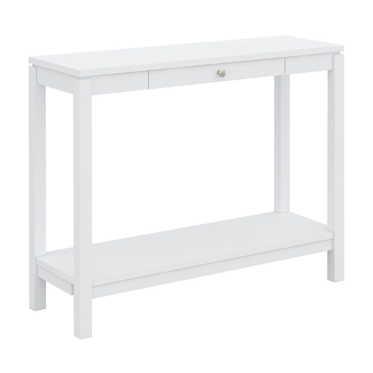 Braque Solid Rubberwood Timber Hall Table, 100cm, White