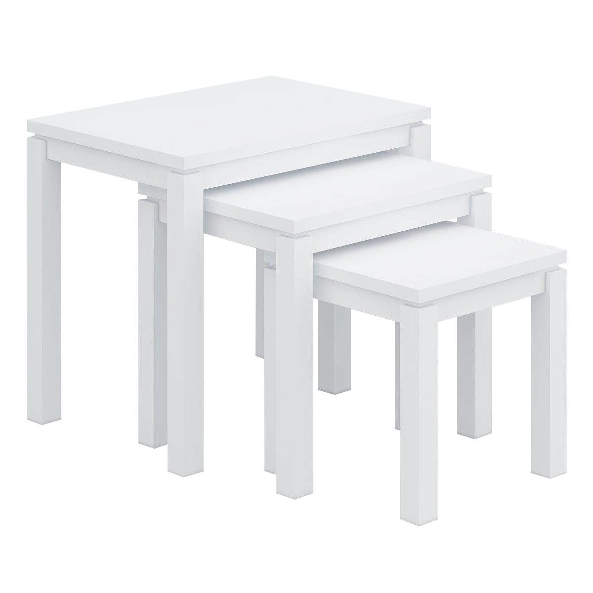Braque Solid Rubberwood Timber 3 Piece Nested Table Set, White