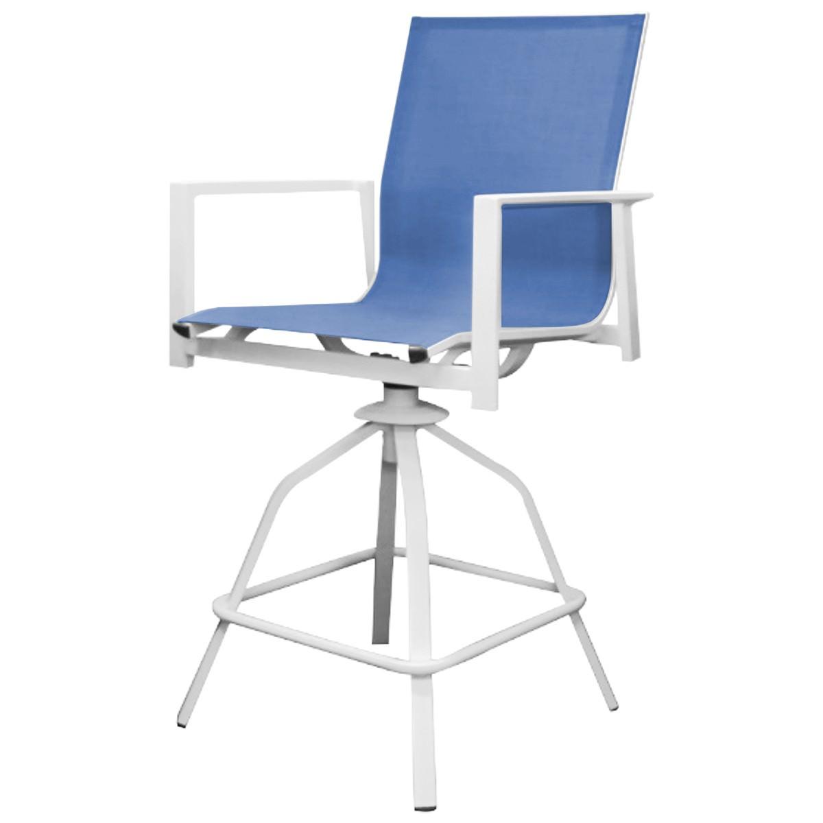 Costa Swivel Bar Chair, White / Blue