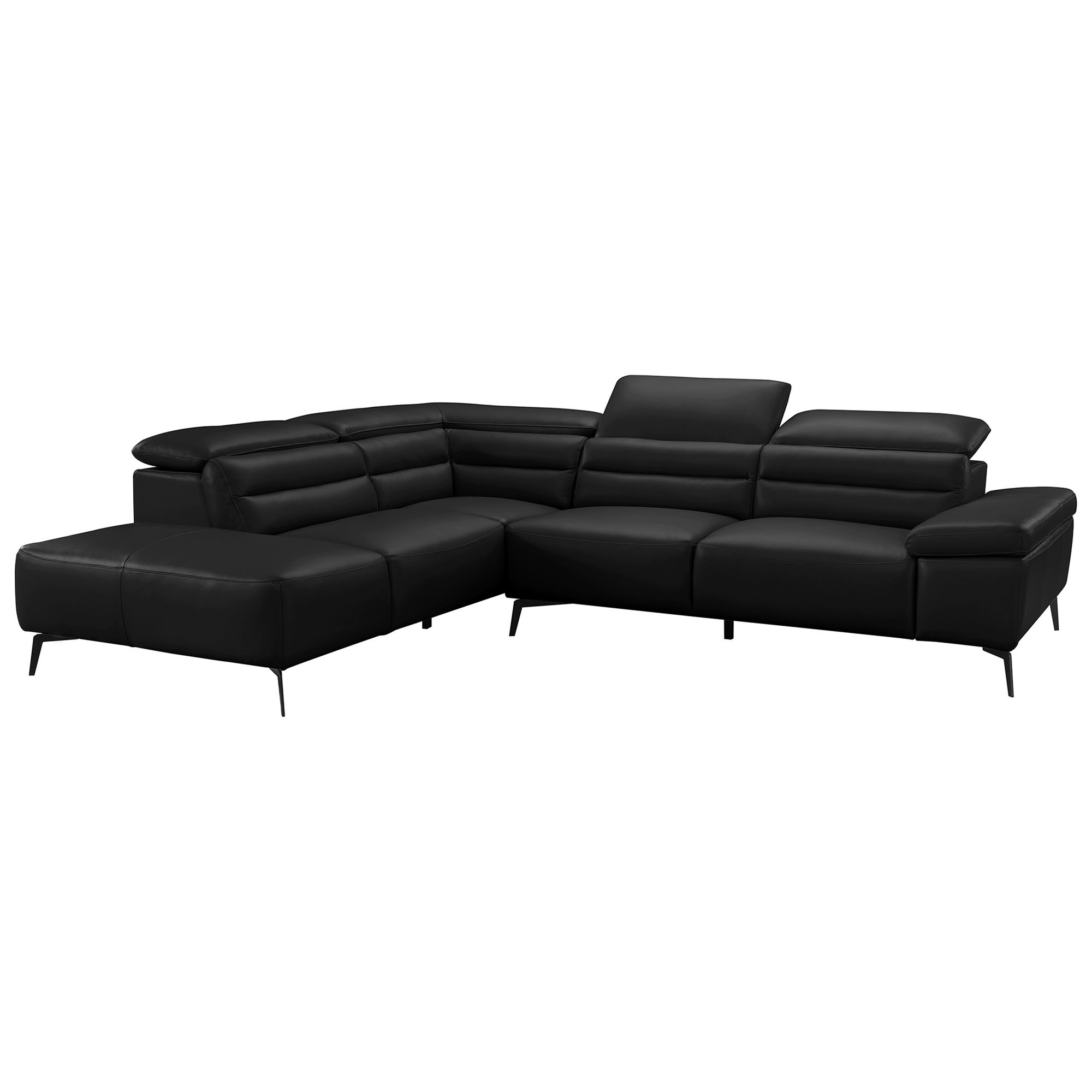 Casape Leather Corner Sofa, 3 Seater with Left Hand Facing Terminal, Black