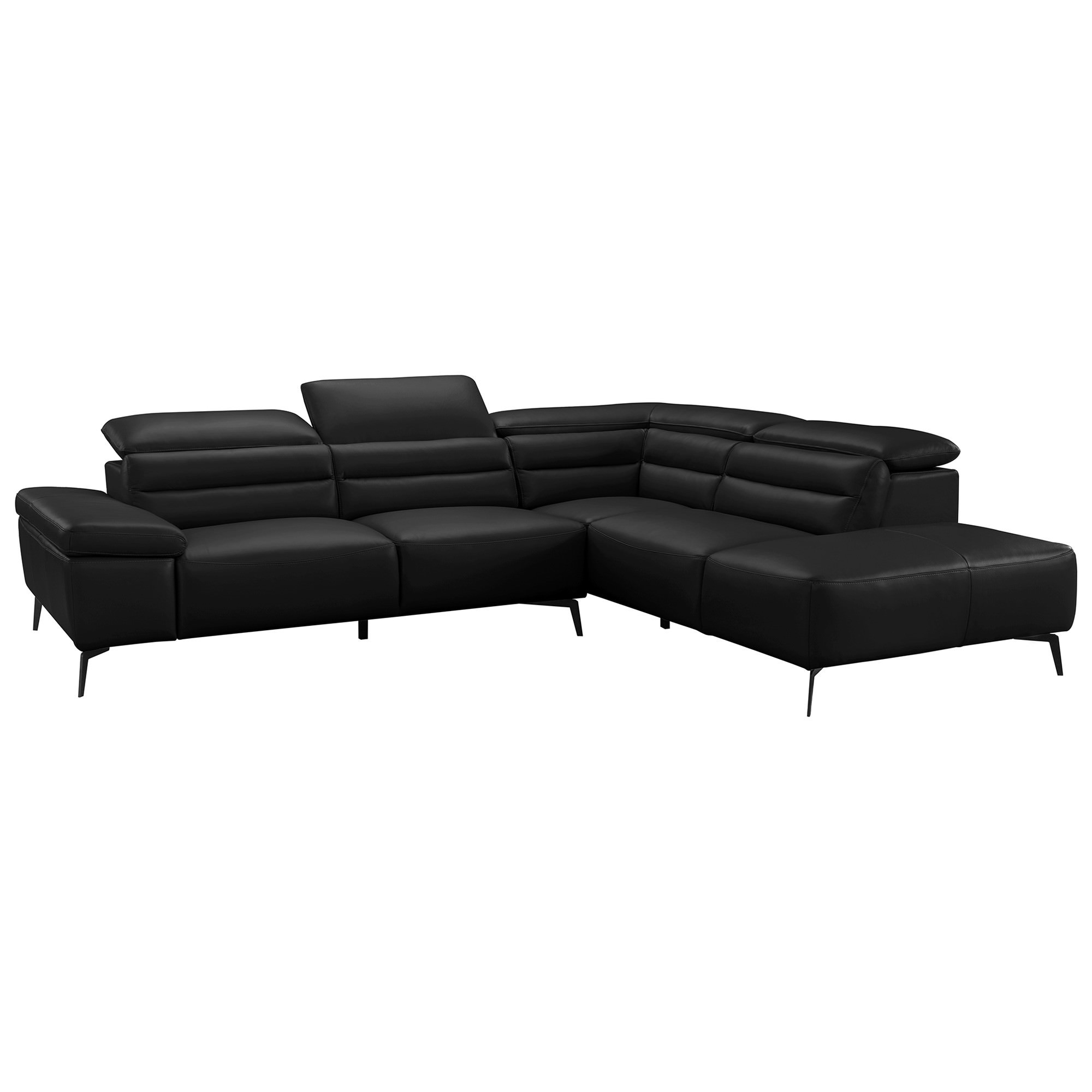 Casape Leather Corner Sofa, 3 Seater with Right Hand Facing Terminal, Black