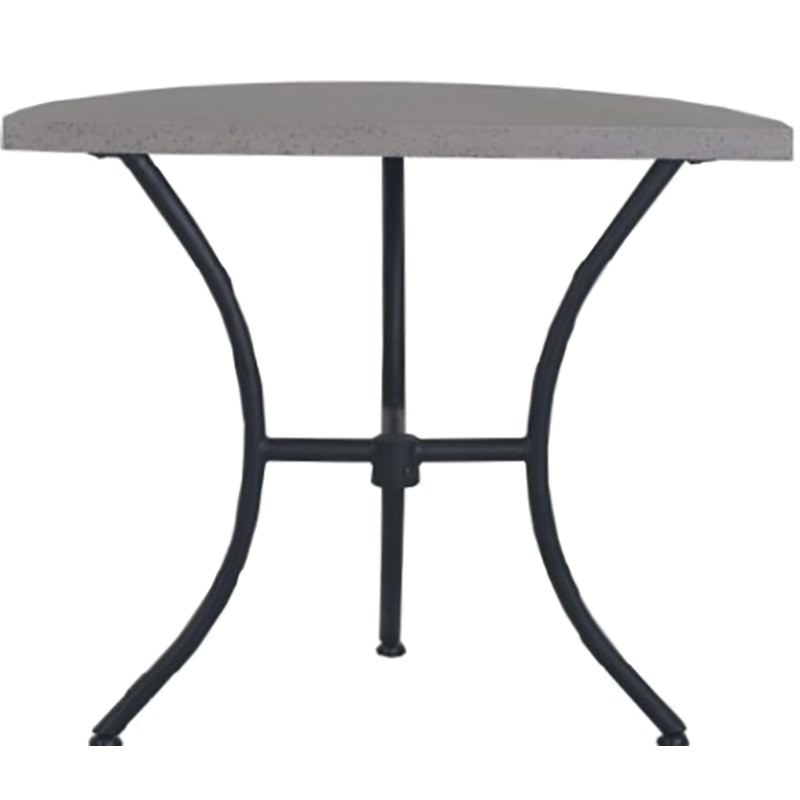 Cerchi Cement Topped Iron Semi Round Balcony Table, Grey