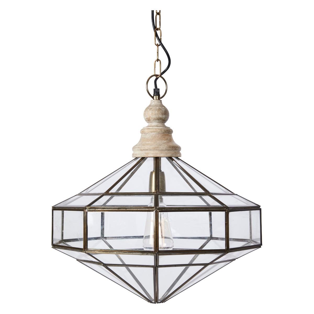 Diamond Brass & Glass Geometic Pendant Light
