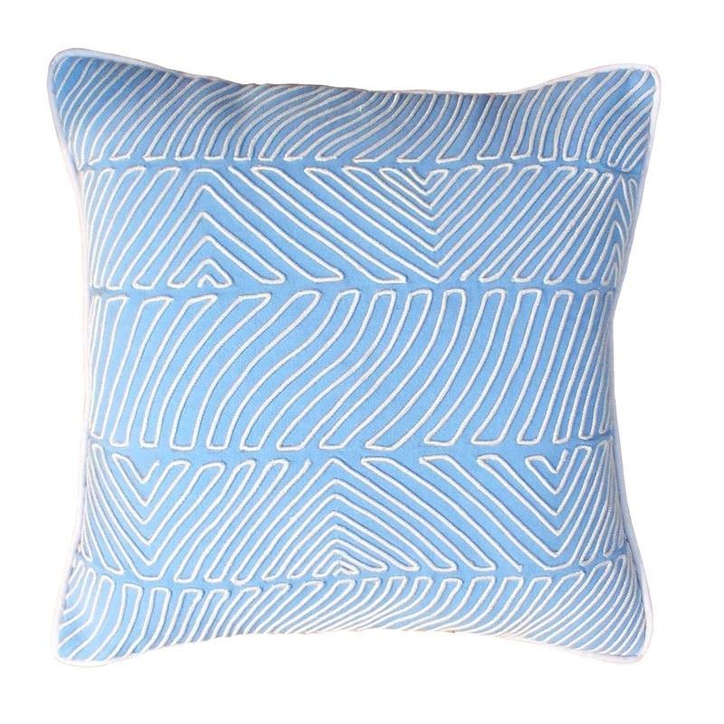 Myra Embroidery Cotton Cushion Cover - Pastel Blue