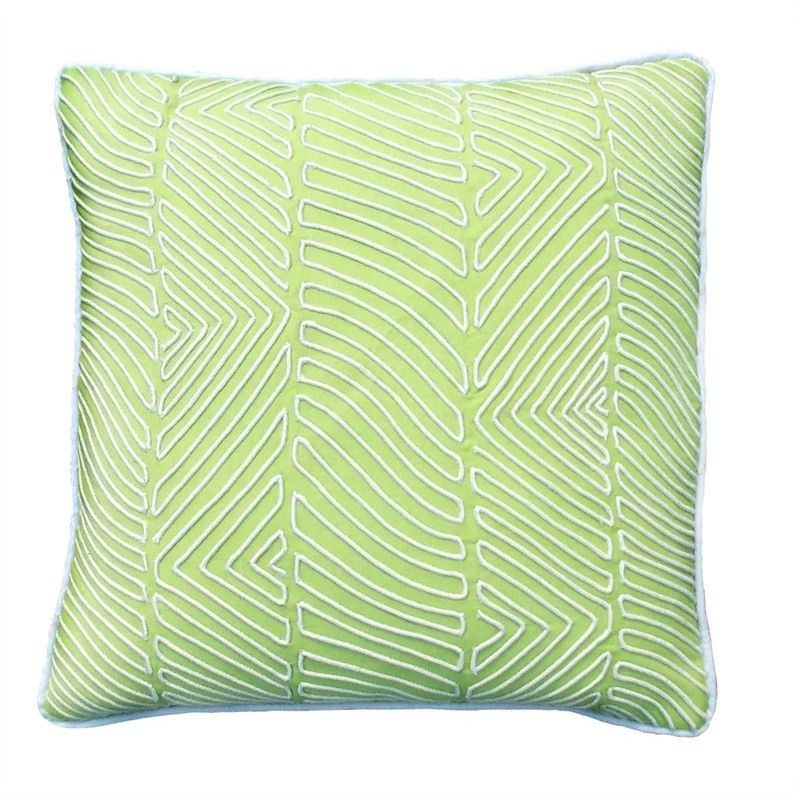 Myra Embroidery Cotton Cushion Cover - Pastel Green
