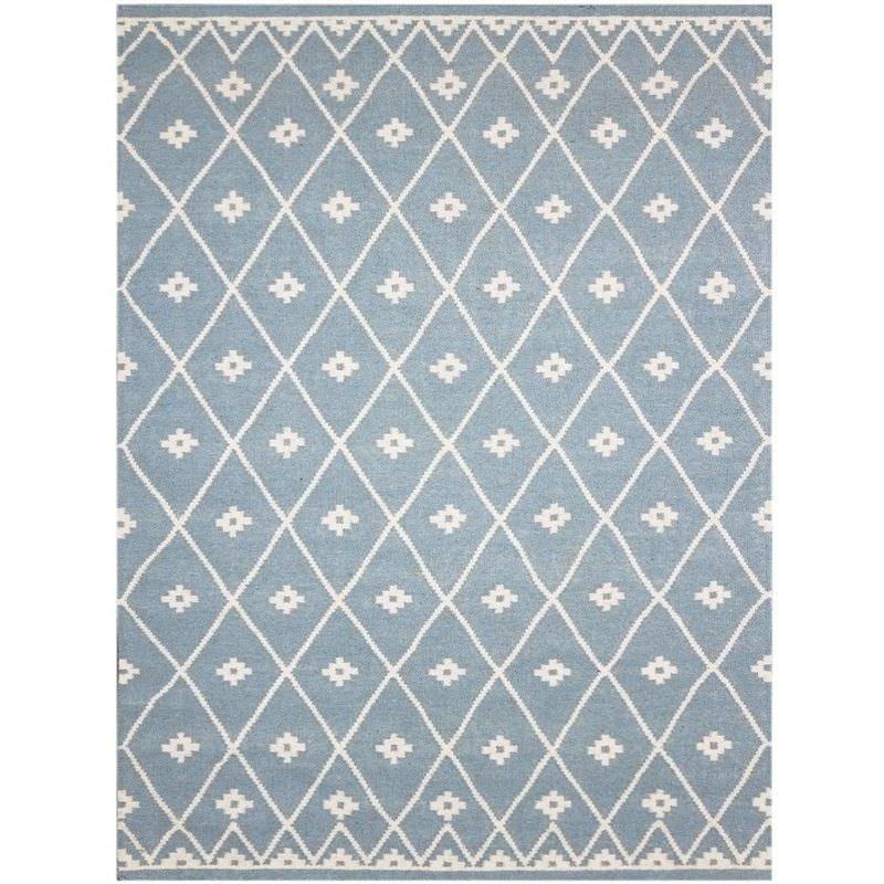 Mena 160x230cm Hand Made Wool Rug - Light Blue