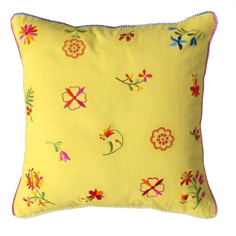 Saavi Embroidery Cotton Cushion - Yellow